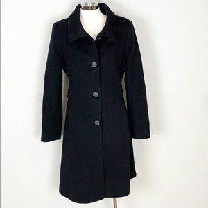Via Spiga Black Belted Cashmere Wool Blend Coat